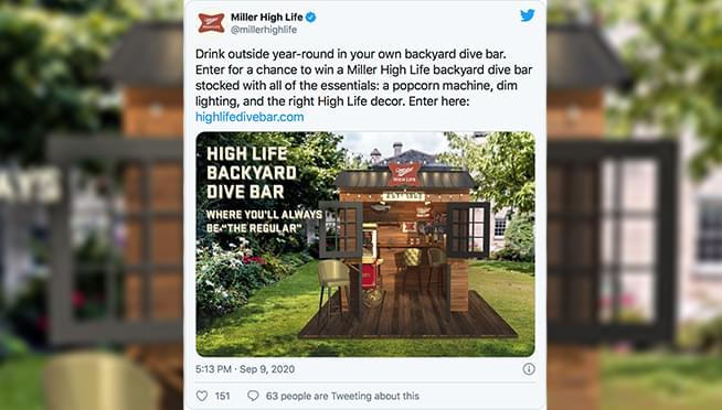 Miller High Life is giving away a mini dive bar for your back yard