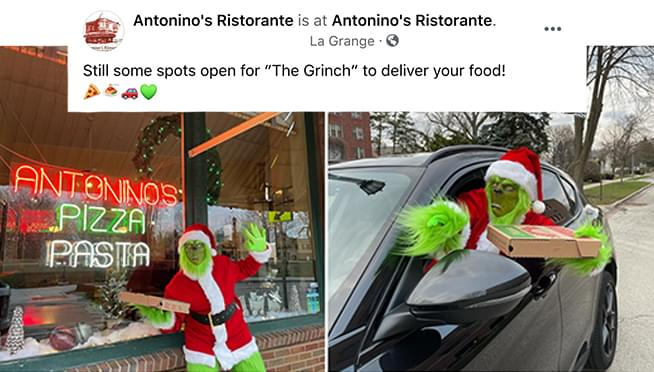 THE GRINCH will deliver your pizza from this local restaurant