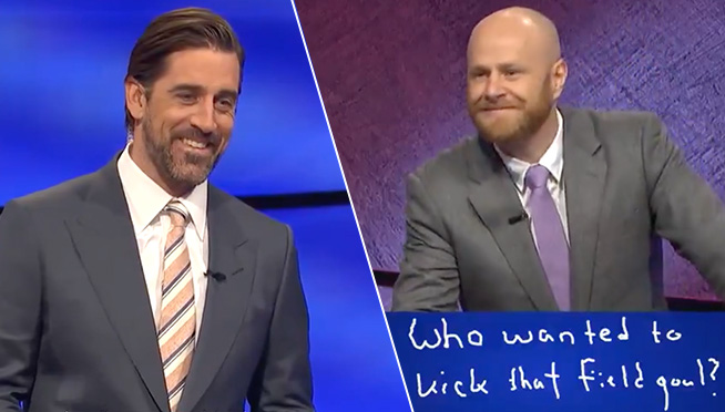 Aaron Rodgers hosted first night of 'Jeopardy' and a contestant teased him in final Jeopardy
