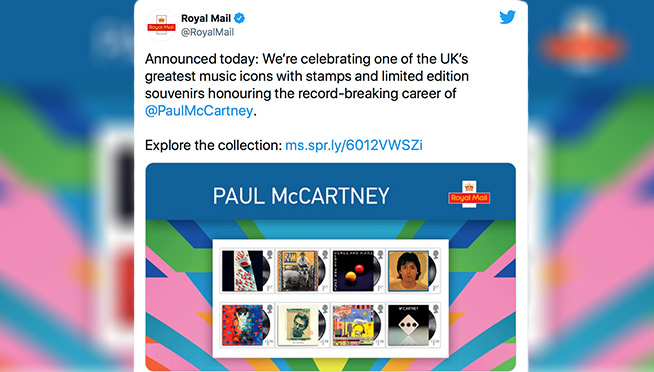 Royal Mail announces release of Paul McCartney British Royal Mail stamps