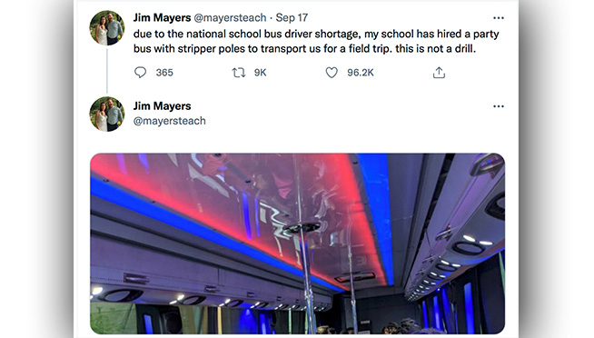 Due to the bus driver shortage, a school hired a party bus with stripper poles for a field trip