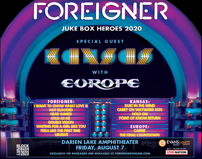 See Foreigner, Kansas and Europe at Darien Lake