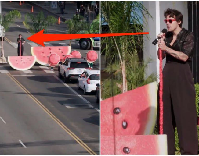 "Harry Styles Performs In ""Late, Late Show Crosswalk Concert"""