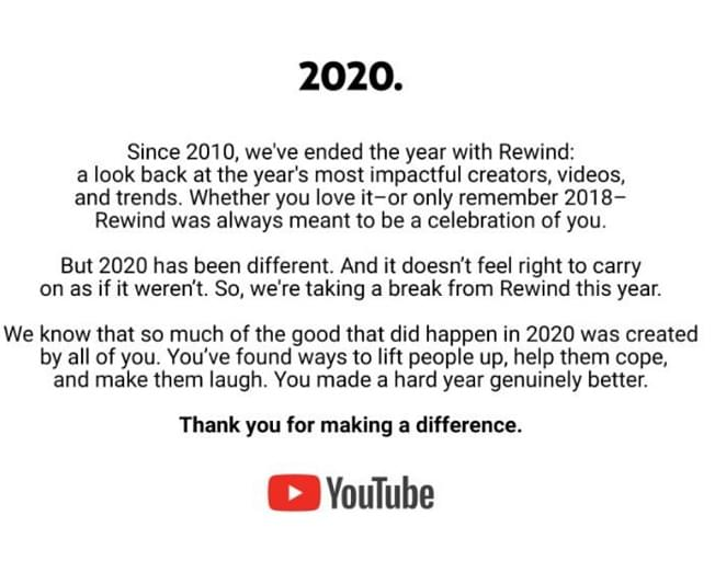 """Youtube Cancles Their Yearly """"Rewind"""""""