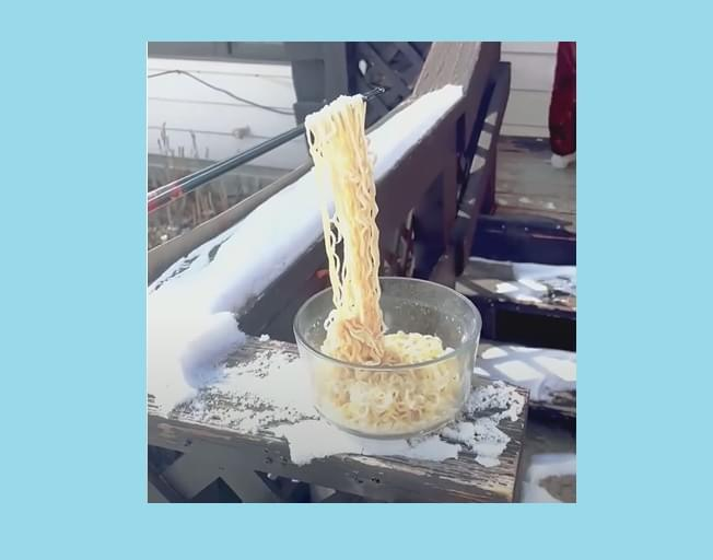Ramen Noodles Freeze In Mid Air Due To Freezing Cold Temps
