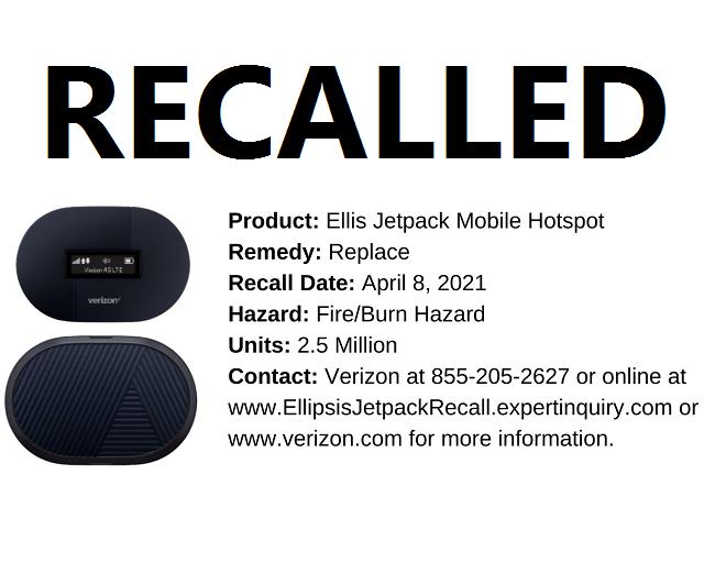 Verizon Recalling 2.5 Million Mobile Hotspots Over Fire Risk