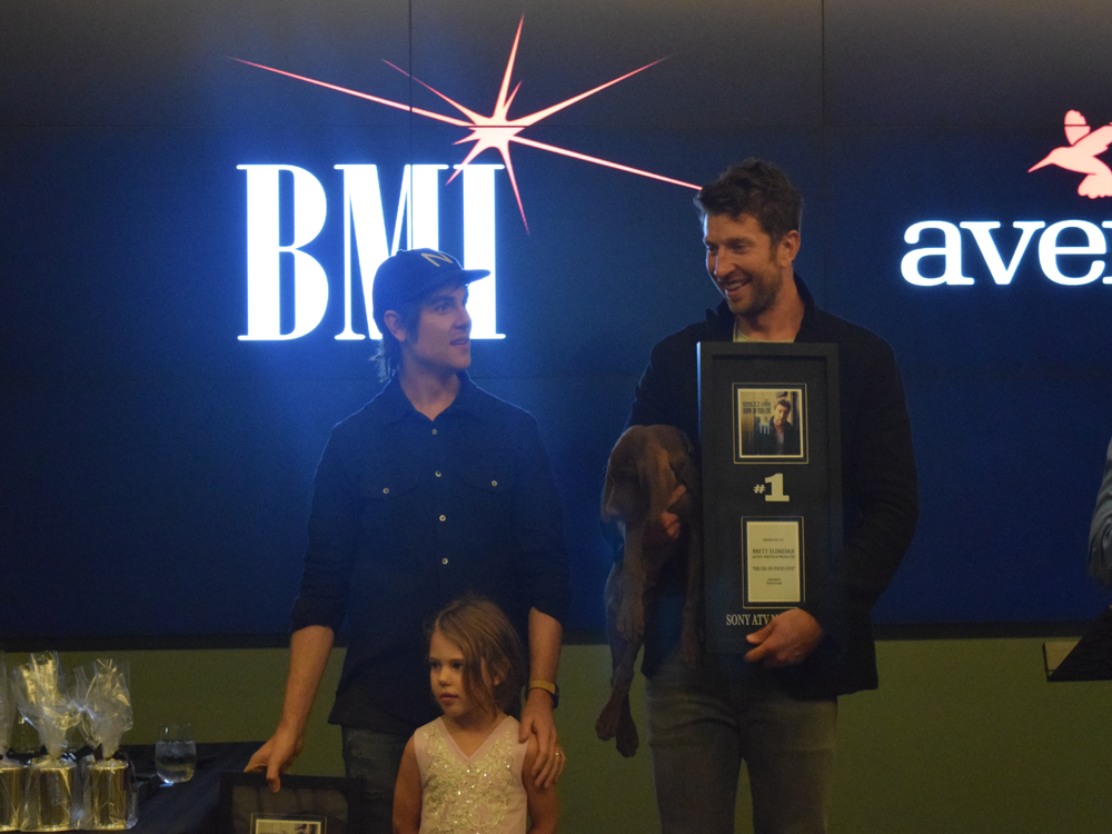 "Brett Eldredge Celebrates No. 1 Party for ""Drunk on Your Love"" With Family, Friends & Edgar [the Puppy]"