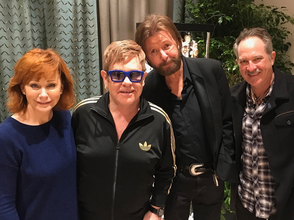 Reba McEntire Hangs With Sir Elton John and Two Other Dudes