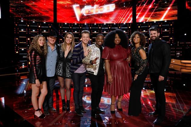 "THE VOICE -- ""Live Top 10"" Episode 1417B -- Pictured: (l-r) Brynn Cartelli, Kaleb Lee, Jackie Foster, Britton Buchanan, Rayshun Lamarr, Kyla Jade, Spensha Baker and Pryor Baird. (Photo credit: Trae Patton/NBC)"