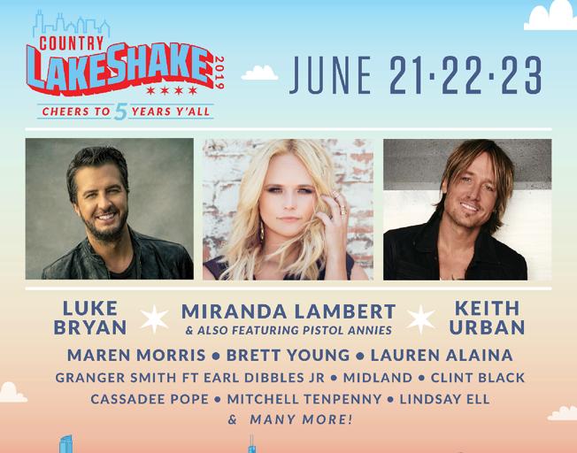 Country LakeShake 2019 June 21-23, 2019 featuring Luke Bryan, Miranda Lambert and Keith Urban