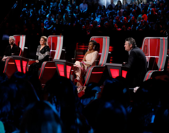 "THE VOICE -- ""Live Finale Results"" Episode 1519B -- Pictured: (l-r) Adam Levine, Kelly Clarkson, Jennifer Hudson, Blake Shelton -- (Photo by Trae Patton/NBC 