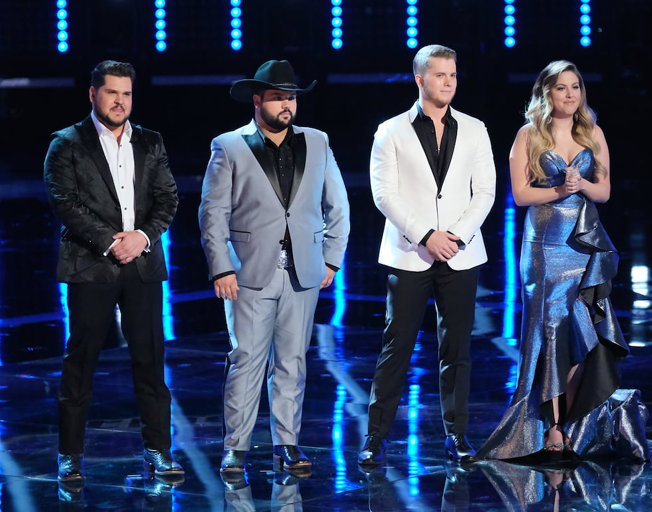 "THE VOICE -- ""Live Finale Results"" Episode 1616B -- Pictured: (l-r) Dexter Roberts, Andrew Sevener, Gyth Rigdon, Maelyn Jarmon -- (Photo by: Tyler Golden/NBC)"