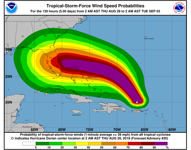 Hurricane Dorian expected to become a Category 3 storm before hitting Florida