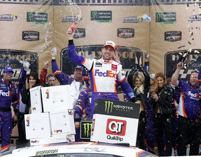 Denny Hamlin Wins at Kansas as 4 Drivers Cut from NASCAR Playoffs [VIDEO]