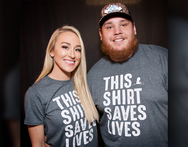 "Nicole Hocking & Luke Combs in ""This Shirt Saves Lives"" St. Jude T-Shirts"