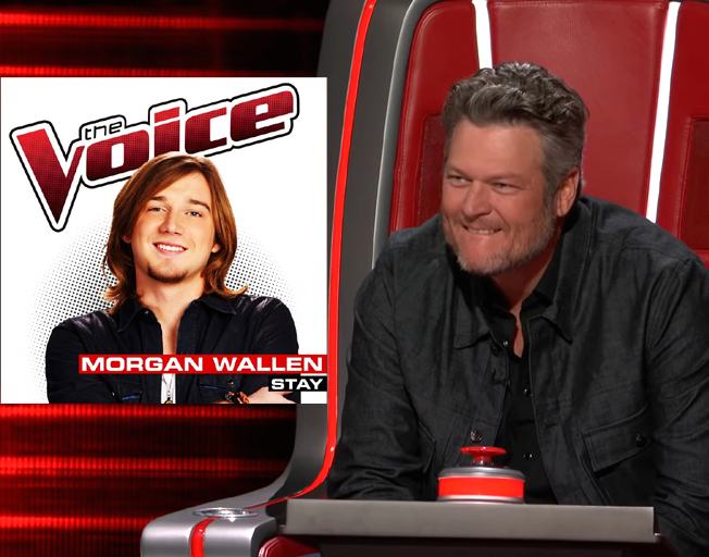 Morgan Wallen digital single cover from season 6 of 'The Voice' and Blake Shelton on 'The Voice' season 18