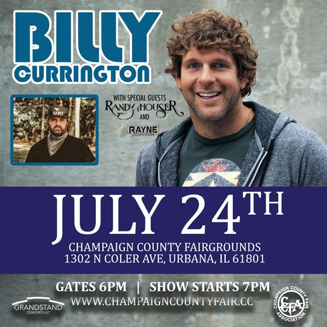 Billy Currington at Champaign County Fair with special guests Randy Houser & Rayne Johnson