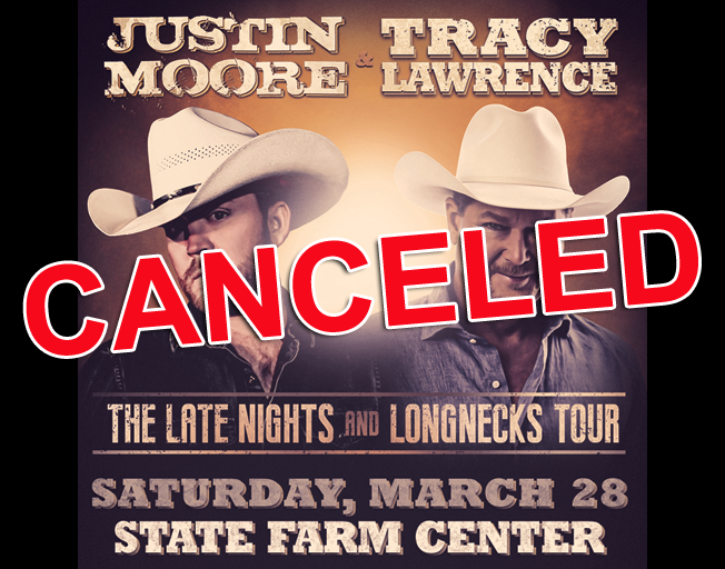 Justin Moore & Tracy Lawrence Concert at State Farm Center Officially Canceled