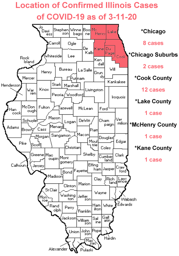 Map of Counties with Confirmed Coronavirus Cases in Illinois as of 3-11-20 (Photo credit: Buck Stevens/B104)