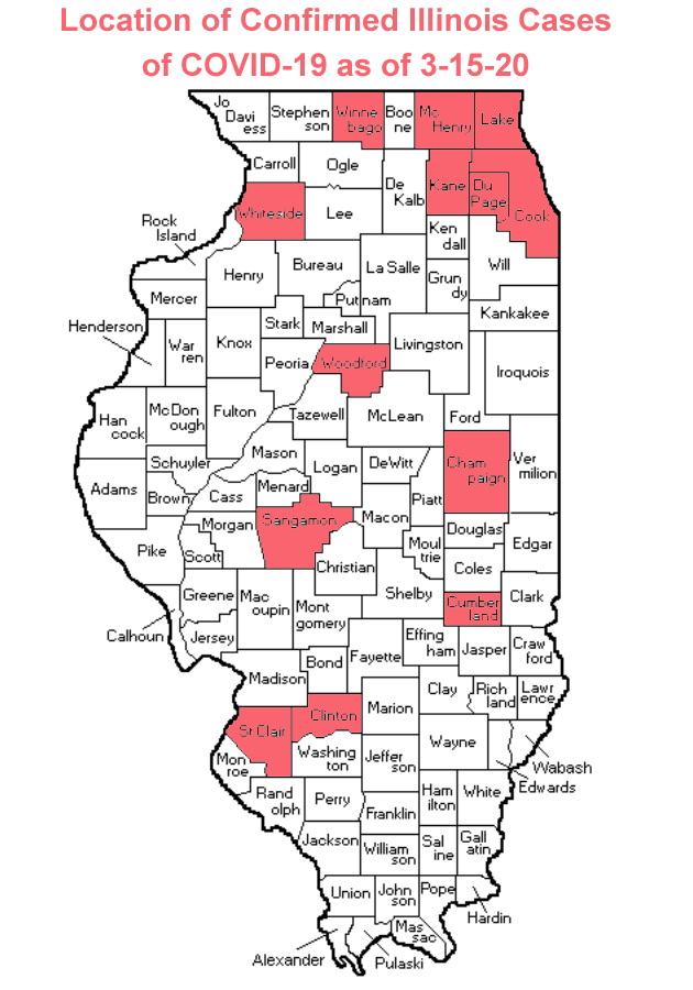 Map of Counties with Confirmed Coronavirus Cases in Illinois as of 3-15-20 (Photo credit: Buck Stevens/B104)