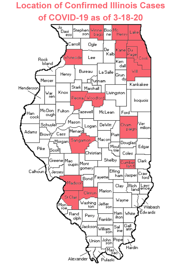 Map of Counties with Confirmed Coronavirus Cases in Illinois as of 3-18-20 (Photo credit: Buck Stevens/B104)