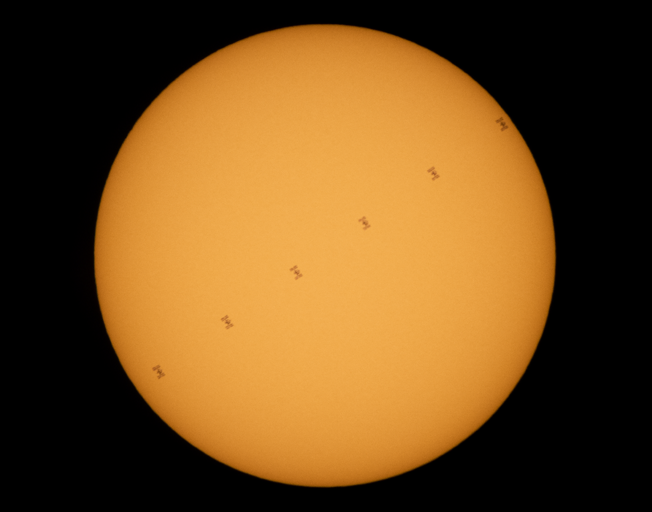 ISS transit between Earth and Sun