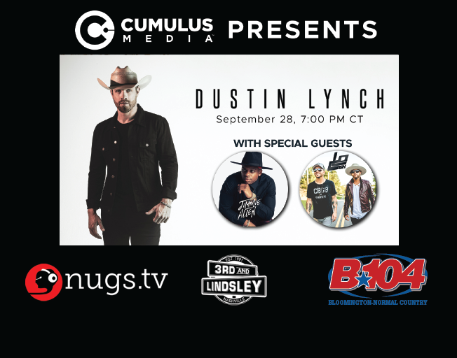Join B104 for a Livestream Concert with Dustin Lynch Monday!