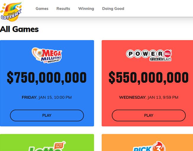 Illinois Lottery website screen shot