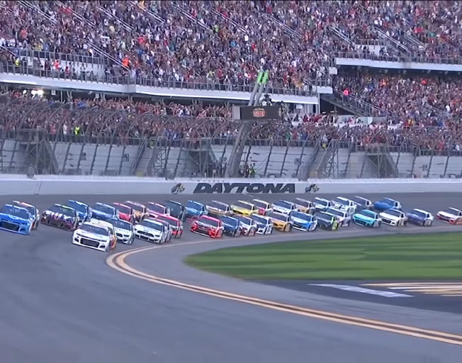 The field of NASCAR Cup Series cars coming to the start of the 2020 Daytona 500.