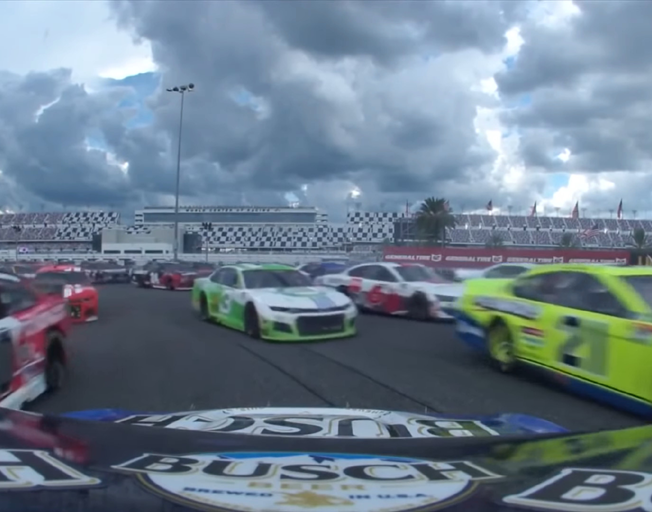 Kevin Harvick's view after spinning around backwards in field at Daytona Road Course.