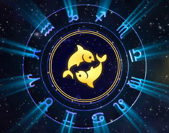 Astrology signs with Pisces symbol in the middle