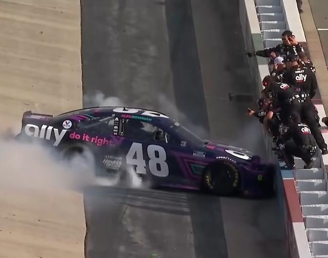 Alex Bowman doing victory burnout at Dover International Speedway after winning Drydene 400 05/17/21