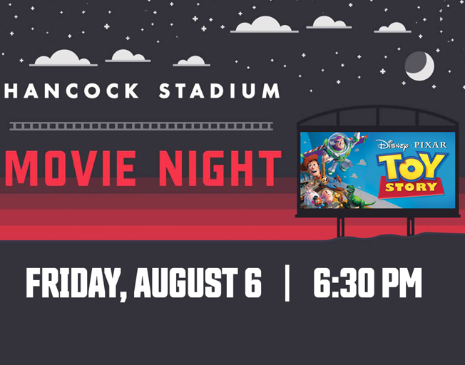 ISU Community Movie Night at Hancock Stadium presented by Cumulus Radio Bloomington – featuring Toy Story Friday, August 6 at 6:30 p.m.