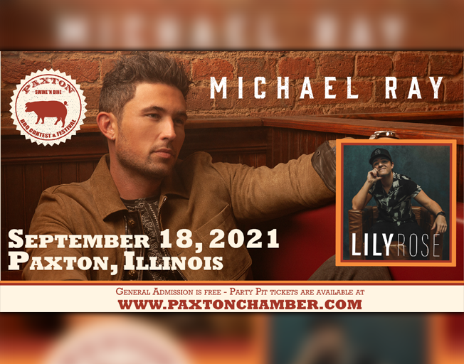 Michael Ray to Headline at Paxton Swine 'N Dine BBQ Contest & Festival