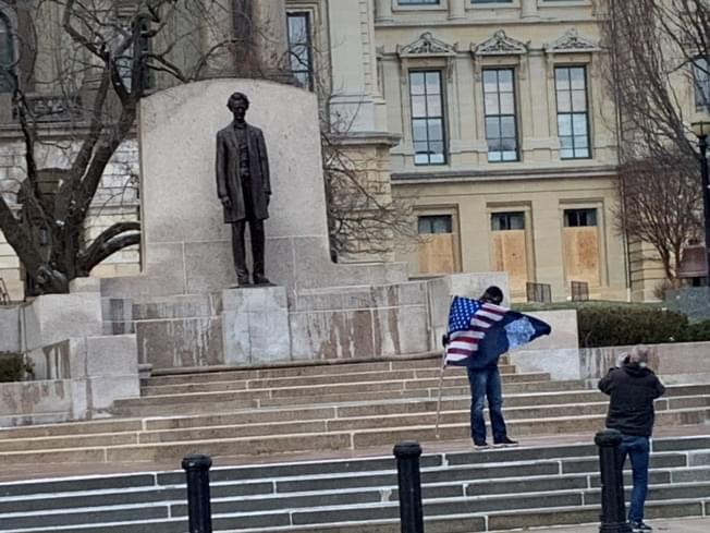 One person at the Lincoln statue in Springfield