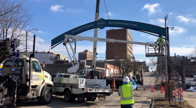 New gateway arch in Downtown Bloomington