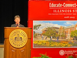 ISU President delivers first presidential address; details financial hardships during COVID-19