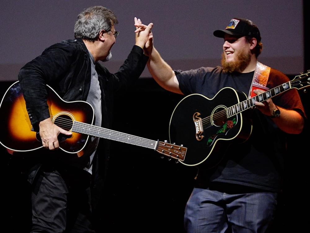 "Watch Luke Combs Perform ""When It Rains It Pours"" at Hall of Fame Benefit as Vince Gill Improvises Lead Guitar"
