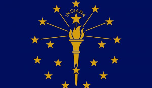 Vector flag illustration of Indiana state, Crossroads of America