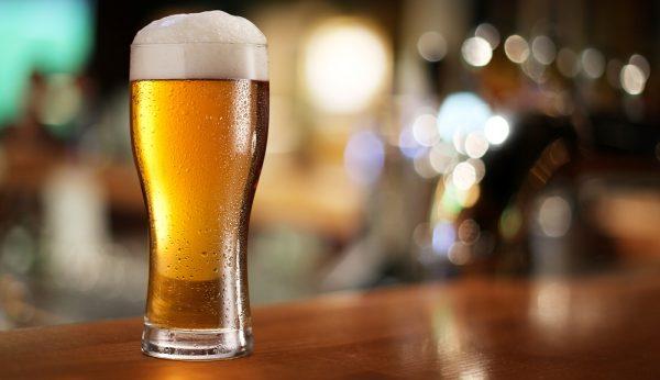 Glass of light beer.