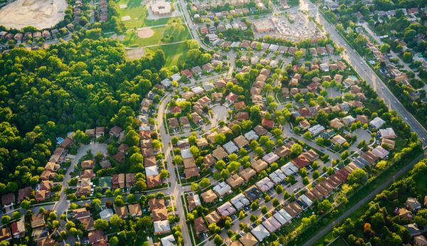 Aerial view of houses in residential suburb, Toronto, Ontario, C