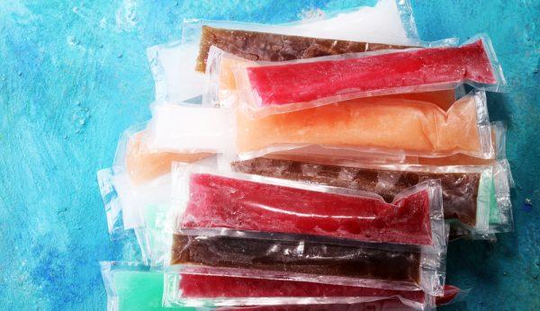 Colorful frozen fruit bar ice pops