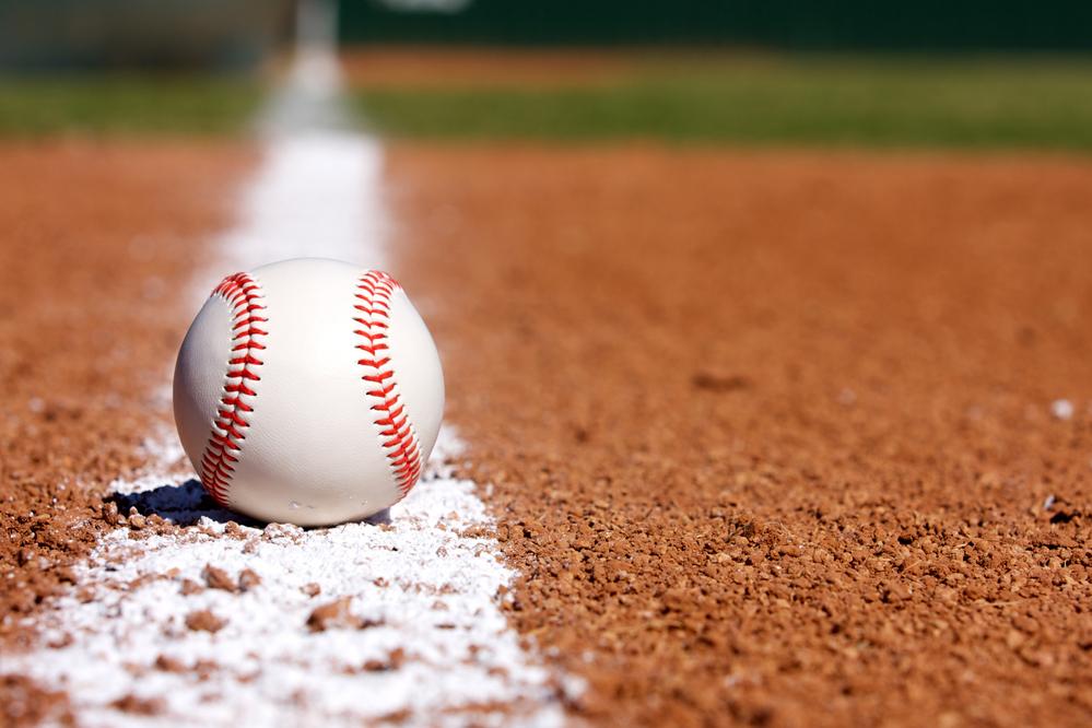 Baseball on the Infield Chalk Line