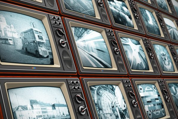 Wall of old TV screens