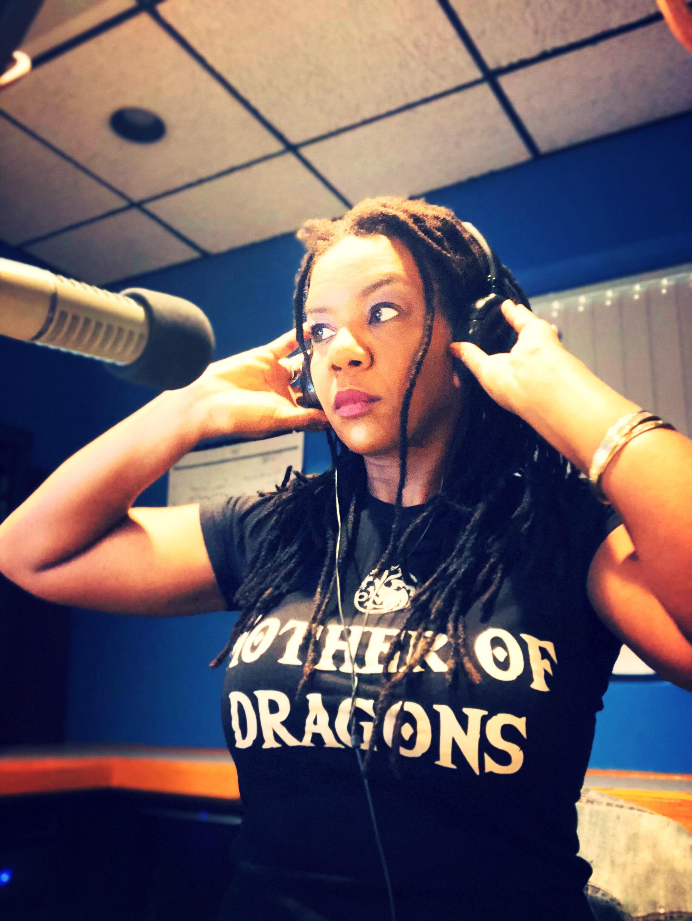 alysse in studio headsets dragon