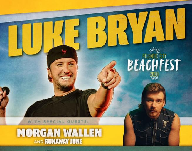 Luke Bryan on the Beach in Atlantic City on August 22nd