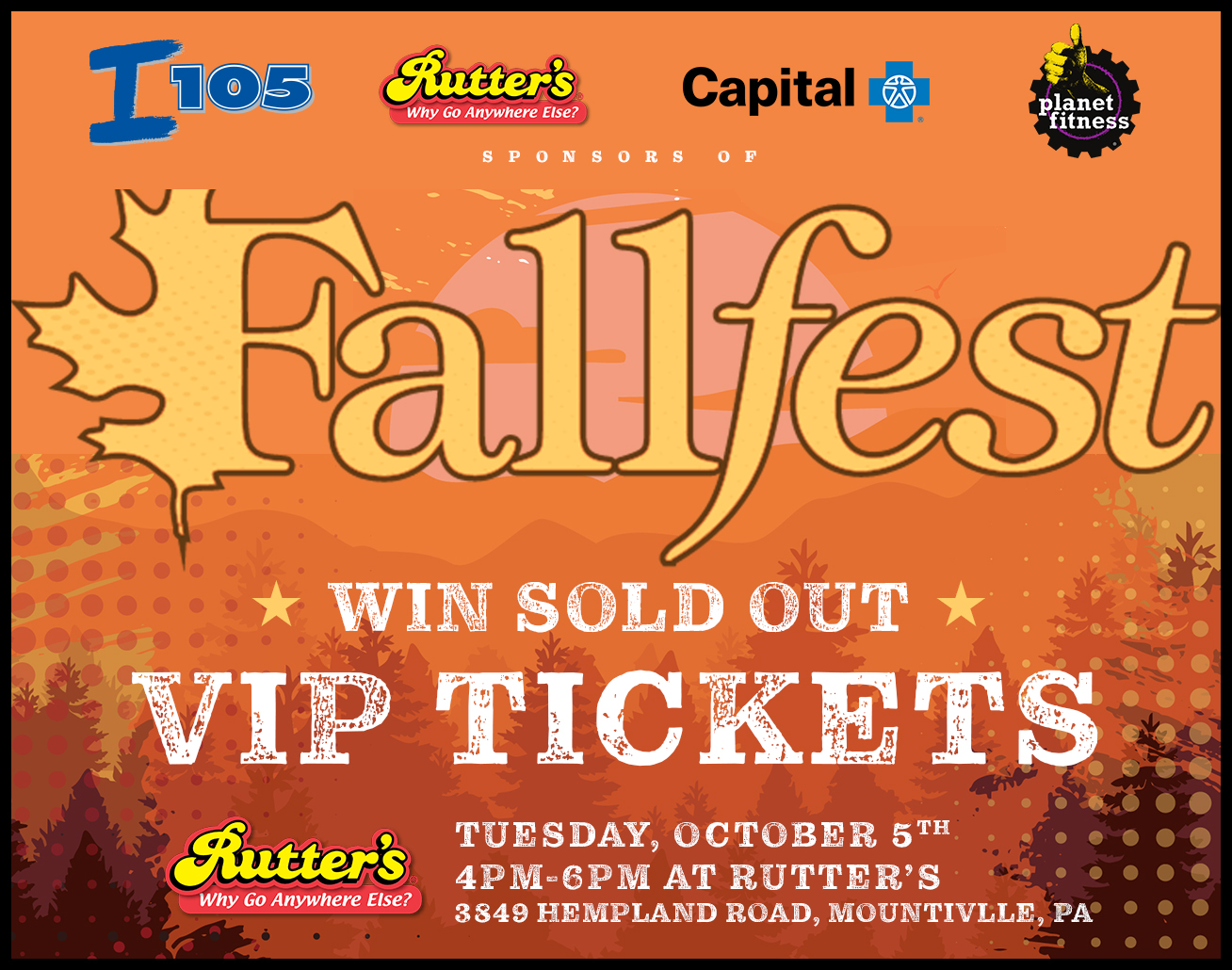 Celebrate 10/5 day and WIN Fallfest VIP Tickets from I-105 and Rutter's