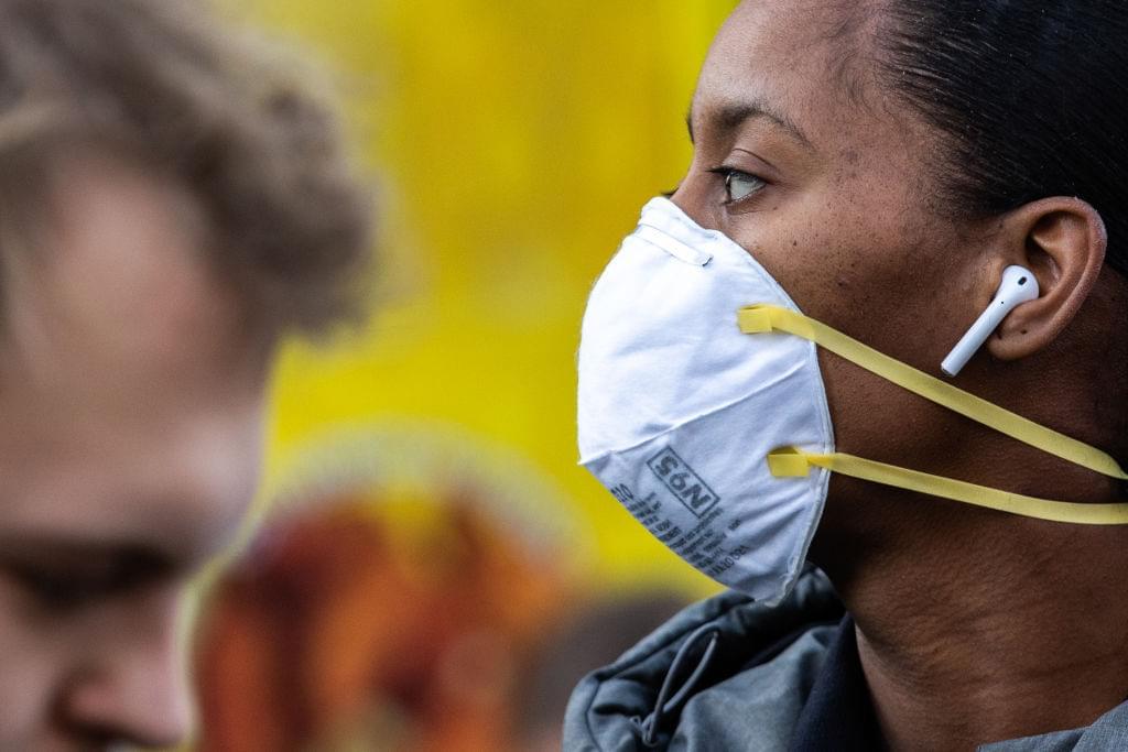 New York Mayor De Blasio Distributes Information On The Coronavirus In Union Square