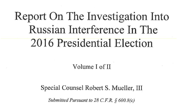 Mueller Report Released (With Redactions)