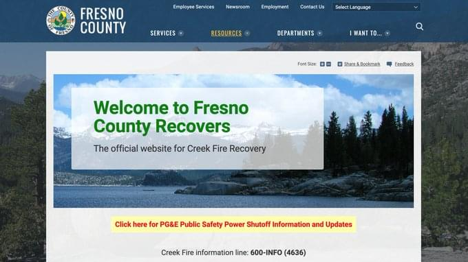 Fresno County Launches Recovery Website in Response to Creek Fire